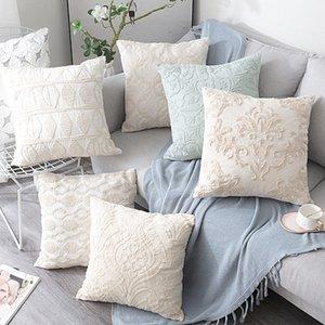 Federa Beige Euro corda filo da ricamo Cuscino della decorazione della casa della tela del cotone Boho di stile Y200104