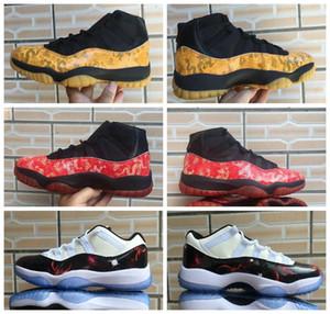 Erkek Retro Yeni 11 Sarı Ejderha Kızıl Ejder basketbol ayakkabıları Erkekler XI 11'ler Siyah Kırmızı galaksi evrenin düşük özel Sneakers ile Kutusu