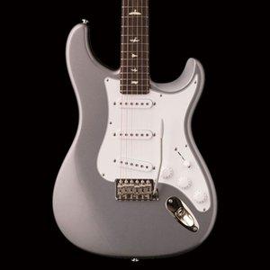 Forma estilo de guitarra personalizada Paul Reed John Mayer Sliver Tungsten elétrica ST Neck, Black Neck Plate, White Pearl Pássaro embutimento, Tremolo ponte