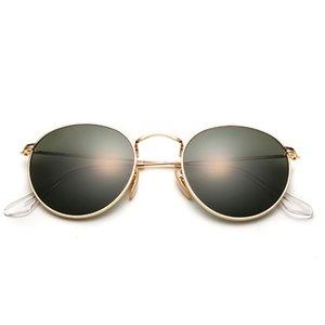 العدسات الزجاجية المستديرة نظارات شمسية نسائية الرجل مصمم العلامة التجارية الصغيرة خمر ريترو عدسة مكبرة القيادة نظارات شمسية معدنية نظارات UV400 T200619