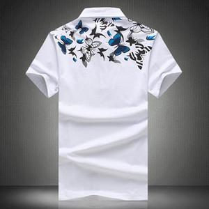Stampa Uomini 'S Abbigliamento Slim Fit Tops Shirt T maschio estate a maniche corte Polo Men' S Stampa con scollo a V di marca degli uomini di polo di tendenza di formato