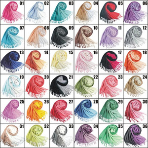 2018 36Colors Hot slae Two-color Pashmina Cashmere Solid Shawl Bag Lady Ladies Scarf Soft Fringes Solid Scarf W003