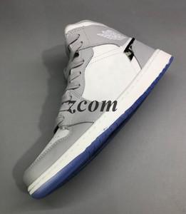 Новый 1 High OG Gray 2020 Mens Basketball обуви косых Преподаватель 1S Дизайнер кроссовок тиснение на верхнем днище корзины Кристалла