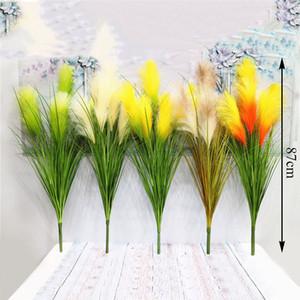 5 Forks Reed erba fiori artificiali per la casa Garden Room Decor Arredamento falso Fiori festa di nozze Decorazione Floreale