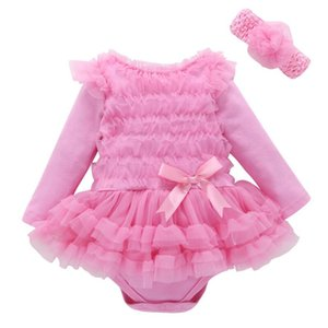 New 2019 Pink Baby Girl lace Tutu Dresses Newborn Infant Long sleeve Jumpsuit Flowers Fashion Sets Rompers and Headband baby Costume