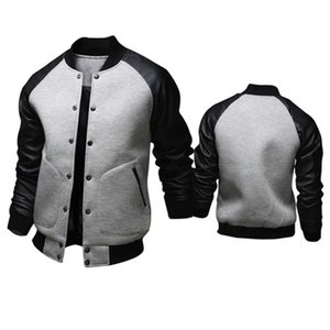 Brand Leather sleeve stitching baseball jacket Spring autumn men Single-breasted PU bomber coat fashion Solid color outerwear