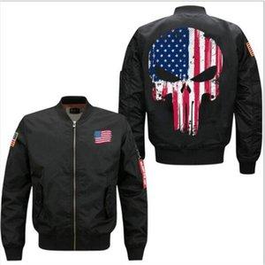 Designer Mens Plus Size Jacket Drapeau Américain Crâne Imprimer Homme Street Style Veste Homme Zipper Fly Casual Jacket
