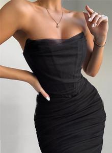 Womens Mesh Club progettista sexy abiti senza spalline Bodycon Abiti Natural Color Fashion ha coperto rivestite veste le donne vestiti