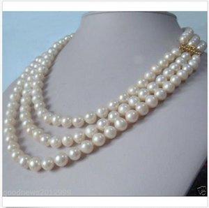 """3 Stränge Natürliche 9-10mm Akoya Weiße Perlenkette 18-19-20 """"14K Gold Verschluss"""