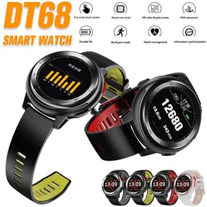 DT68 relógio inteligente Homens Mulheres da aptidão Trackers Heart Rate Monitor Saúde 20 Dial Assista Rosto IP68 relógio de pulso à prova d'água Smart Touch com caixa