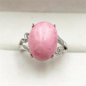 100% Natural Rose Rhodonite 15x11mm donne degli uomini di misura adattabile dell'anello Bead Love Gift di lusso 925 monili d'argento sterlina