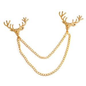 Deer Head Chain Tassel Broche Pin de solapa Camisa pin Joyería de moda para mujeres Hombres Will y Sandy Drop Ship