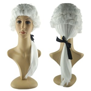 Cosplay Wigs White Lawyer Costume Accessories Wig For Men Women Costume Synthetic Curly Hair Woman Adult Halloween
