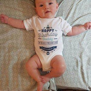 Emmababy Lovely Baby Romper Младенческая Мальчик Мальчик С Коротким Рукавом Письмо Печати Ползунки Комбинезон День Рождения Летняя Одежда