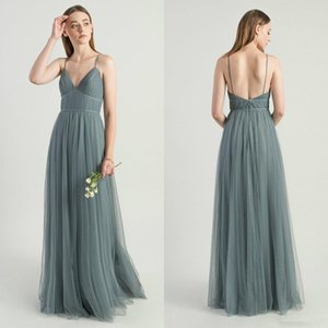 Sexy Spaghetti Backless Sage Grey Bridesmaid Dresses 2020 Modest Full length Bohemian Junior Wedding Guest Party Dress Cheap