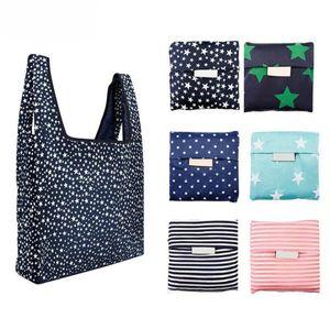 Compras Moda Verde Impressão dobrável sacola dobrável Bolsa Bolsas conveniente de grande capacidade de armazenamento sacos de 6 cores frete grátis