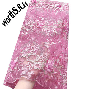 Encaje suizo de alta calidad SJLH 2019 Purple Pink Indian Nigerian Wedding French Lace Fabric Mesh Tulle Latest African Fabric Lace