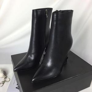 Sıcak Satış-yüksek kaliteli siyah tasarımcı Bilek Boots orta buzağı kadın botları başak mektup