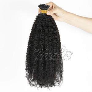 브라질 버마어 자연 색상 아프로 비꼬 곱슬 (b) (c) (b) 3C 전 보세품 각질 퓨전 I 팁 원시 버진 레미 인간의 머리카락 확장