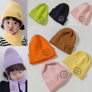 Cap İngiliz Stil Smiley Başkanı Casual Parti Şapkası örme Örgü Ekose Şapka Yetişkin Çocuk Smiley Cap Sonbahar Kış Moda Sıcak 14 renk WX9-1747