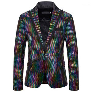 Mens Colorful Polka Dot Printed Outerwear Casual Mens Slim Clothing Mens Designer Night Club Blazers Fashion