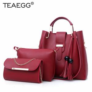 TEAEGG 3 مجموعات عالية الجودة خمر نساء حقائب الماركات حمل حقيبة + الكتف السيدات حقيبة + الفاصل رسول حقيبة بولسا الأنثى