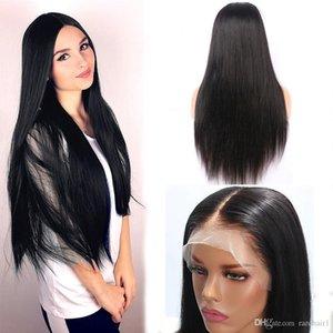RARE diritte del merletto dei capelli anteriori umani Parrucche per la parte delle donne del merletto Medio naturale calore della parrucca Looking parrucca resistente fibra naturale