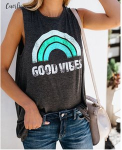 Womens Round Neck Rainbow Letter Good Vibes Printing Casual Vest Aesthetic Clothing Female Harajuku Graphic Popular Tank Tops