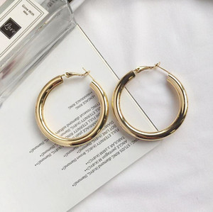 Gold and silver sequins with large circle earrings for personality Atmospheric simplicity exaggerated small circle earrings