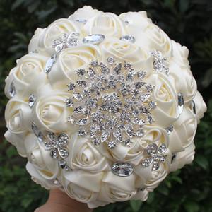 Hnadmade Marfim Ivoire couleur Fleurs artificielles Bouquets de fleurs Bouquet de mariée mariage cristal point de demoiselle d'honneur W236-4 T191108 Bouquets