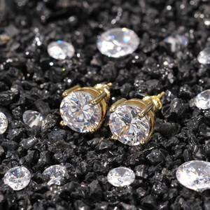 Erkekler Kadınlar Hip Hop Takı için Unisex Bay Bayan Küpe Çıtçıt Altın Gümüş Renkleri Büyük Bling cz elmas saplama Küpe