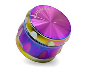 smerigliatrice di erbe affilato con tamburo smerigliatrice arcobaleno Sharpstone Herb Grinders 4 strati Grinder metallo oro nero per bong