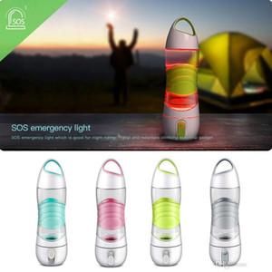 Lumière LED portable Bouteilles d'eau intelligentes Chenilles La prise d'eau brille pour rappeler de boire une lampe de nuit en cas d'urgence Sport Tasses de reconstitution d'eau