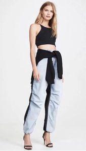 Женские новые брюки Fashion Trend личности сшивание ткани брюки стрейч брюки свободные эластичные манжеты брюки плюс размер c86