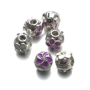 Nouveau bijoux bricolage violet blanc ouvert perles accessoires accessoires huile de fleur entretoise perlé bracelet bricolage ajouré perles pour bijoux accessoires de bricolage