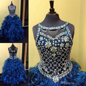 Royal Blue Crystals Toddler Girls Pageant Abiti 2019 Ball Gown Puffy Organza a strati Gonne Little Girls Bambini Abiti formali Pageant Abiti