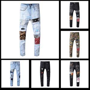 2019 de alta qualidade homem mens desgaste homens grife famosa marca de jeans moda de rua motociclista calças jeans AZ