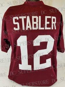 Barato personalizado Ken Stabler Crimson Estilo College Football Jersey Personalizado Qualquer nome número Jersey Costurado XS-5XL