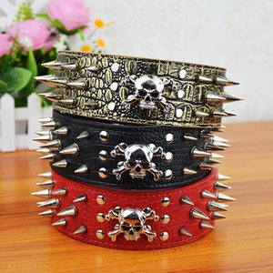 (20 Pieces lot) Wholesale Leather Studded Spikes and Skull Pet Products Supplier Dog Collar