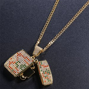 Hip Hop Lighter Pendant Necklace For Men 2019 New Fashion Hiphop Jewelry Placcato oro Ice Out DJ Multicolor Cubic Zirconai Rappers Collane