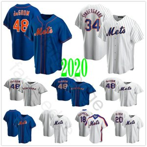 Nova 2020 Baseball # 48 Jacob deGrom 20 Pete Alonso 34 Noah 18 Darryl Strawberry costurado Casa Fora Third Baseball Jerseys