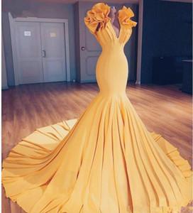 Желтый Русалка Пром платья 2020 V шеи оборками развертки поезд вечернее платье Южноафриканский Женщины Ruched Формальные партии Дешевые платья