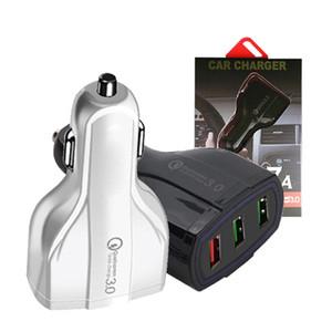 Сотовый телефон автомобильное зарядное устройство 3 USB QC3. 0 быстрая зарядка адаптер Smart Charger 12V 3.1 A для iPhone Android Samsung смартфонов с розничной продажей