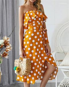 Принт Без Бретелек Леди Платье Пояса Сплит Рябить Hi-Lo Вечернее Платье Falbala Без Бретелек Классическое Платье Лето Горошек