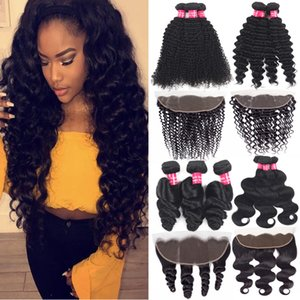 Brazilian Virgin Hair Bundles With Frontal 13X4 Ear To Ear Lace Frontal Closure Deep Water Wave Kinky Curly Human Hair Bundles With Closure