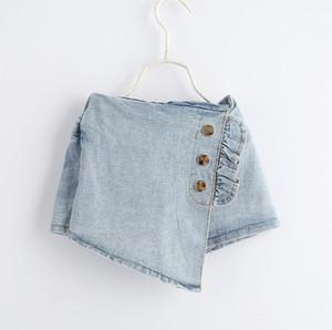 Moda crianças Denim hot shorts verão plissado três botão elástico meninas mini shorts crianças cowboy irregular casual curto