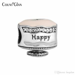 Serve para pandora pulseira encantos grânulos para fazer jóias feliz aniversário bolo de prata charme sterling-silver-jóias diy contas
