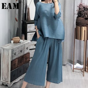 [EAM] 2020 New Spring Vintage O Collar Loose Three Quarter Sleeve Tops Full Length Pants Suit Summer Women Fashion Tide OA979 CX200702