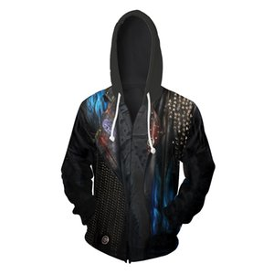Descendants of paragraph 3 movie with 3D printing zip cardigan sweater hooded sweater coat cospaly