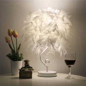 Forma de cabecera sala de biblioteca Sala de corazón de la pluma de cristal lámpara de mesa para el dormitorio de luz Art Deco Hogar Planetario